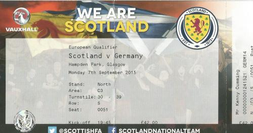 Scotland v Germany 2015 ticket