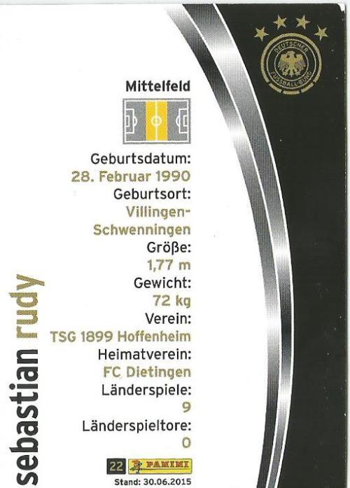 Sebastian Rudy - DFB 2015-16 card 2