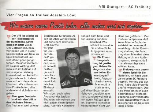 Joachim Löw – interview – Stuttgart v SC Freiburg 1996-97 program
