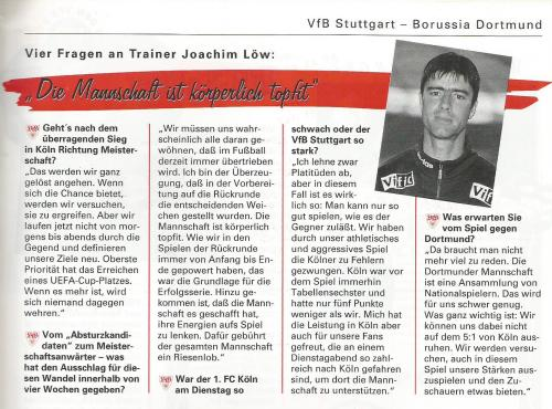 Joachim Löw – interview - Stuttgart v Dortmund 1996-97 program