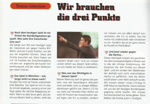 Joachim Löw – interview - Stuttgart v Hertha 1997-98 program