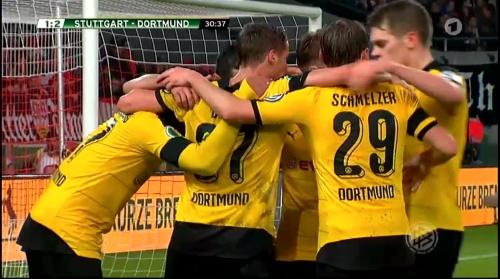 Dortmund players celebrate - Stuttgart v Dortmund - DFB Pokal 1