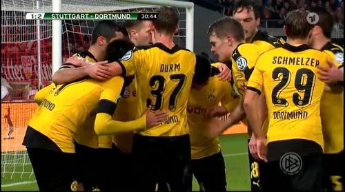 Dortmund players celebrate - Stuttgart v Dortmund - DFB Pokal 2