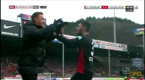 Vincenzo Grifo & Nils Petersen celebrate – SC Freiburg v Fortuna Düsseldorf 1