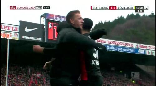 Vincenzo Grifo & Nils Petersen celebrate – SC Freiburg v Fortuna Düsseldorf 2