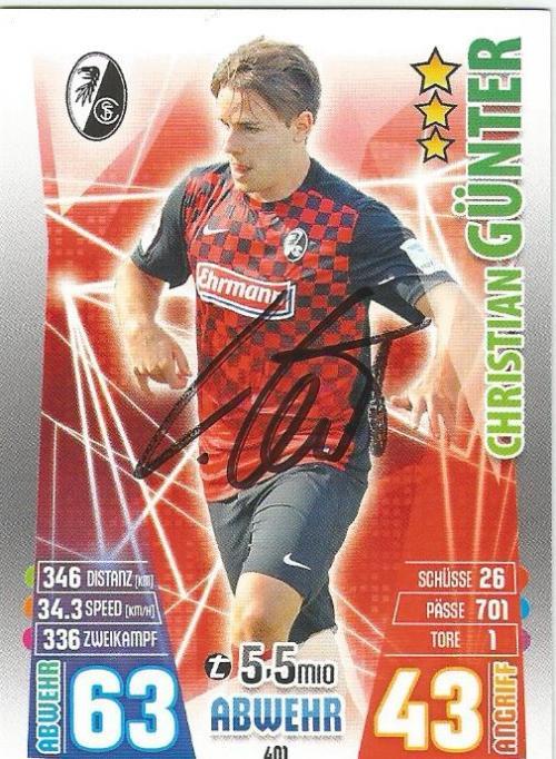 Christian Günter - signed SC Freiburg Match Attax card