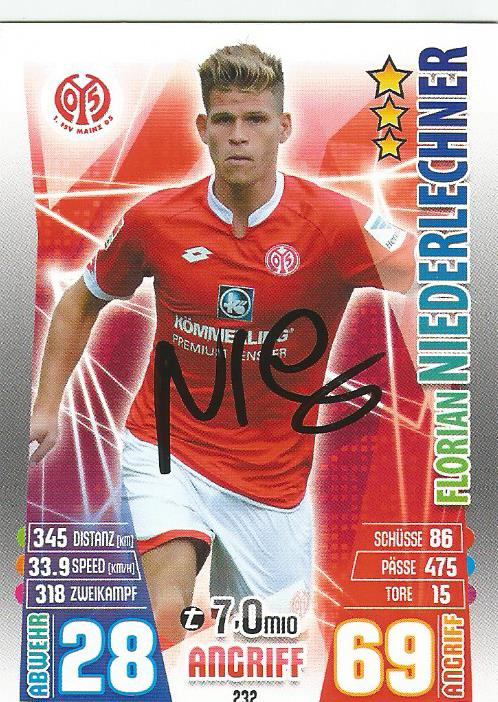 Florian Niederlechner - signed Mainz Match Attax card