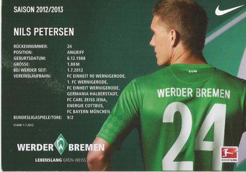 Nils Petersen - Bremen 2012-13 card 2