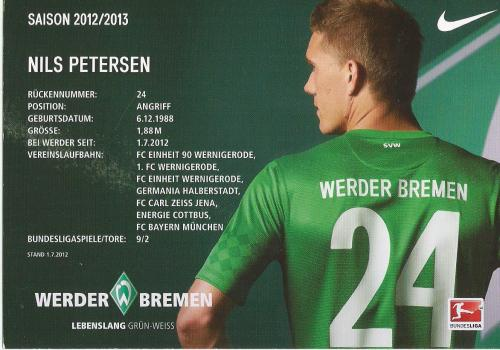 Nils Petersen - Bremen 2012-13 card 2