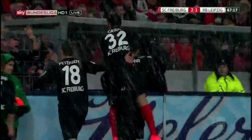 Petersen, Grifo & Niederlechner celebrate - SCF v RBL