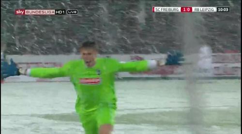 Schwolow celebrates Grifo's goal - SCF v RBL 1