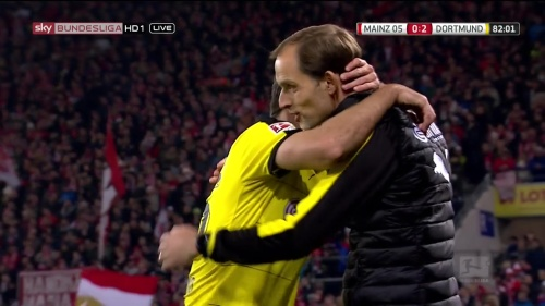 Thomas Tuchel and Sokratis - Mainz v Dortmund 1
