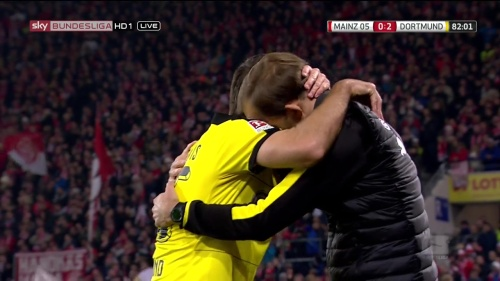 Thomas Tuchel and Sokratis - Mainz v Dortmund 2