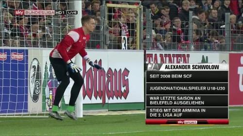 Alexander Schwolow – pre-match show – SC Freiburg v KSC 15