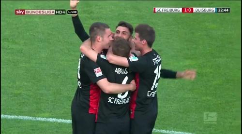 Freiburg celebrate Grifo goal - Freiburg v Duisburg 1
