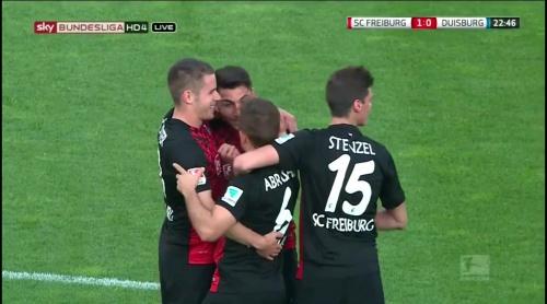 Freiburg celebrate Grifo goal - Freiburg v Duisburg 2