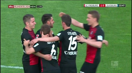 Freiburg celebrate Grifo goal - Freiburg v Duisburg 3
