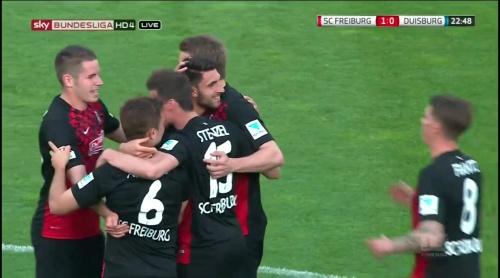Freiburg celebrate Grifo goal - Freiburg v Duisburg 4