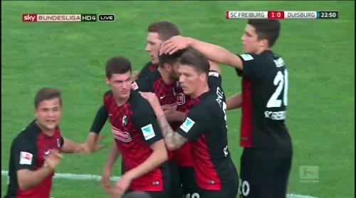Freiburg celebrate Grifo goal - Freiburg v Duisburg 5