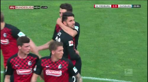 Freiburg celebrate Grifo goal - Freiburg v Duisburg 6