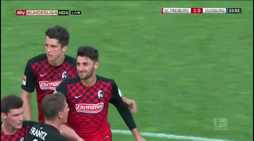 Freiburg celebrate Grifo goal - Freiburg v Duisburg 7