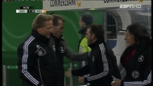 Joachim Löw & Hansi Flick – Germany v Holland (2011) 4