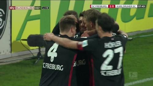 SC Freiburg celebrate Frantz goal v KSC