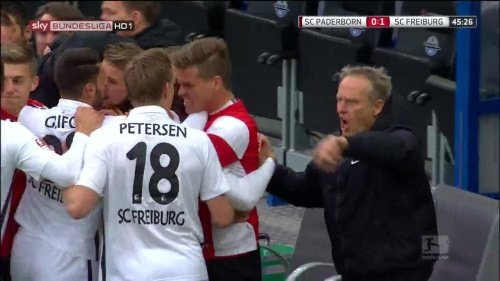 SC Freiburg celebrate Frantz goal against Paderborn 2