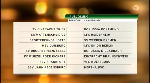 DFB Pokal – 1 Hauptrunde Auslosung 2015-16 1