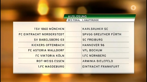 DFB Pokal – 1 Hauptrunde Auslosung 2015-16 2