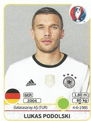 Lukas Podolski - Germany - Euro 2016 sticker