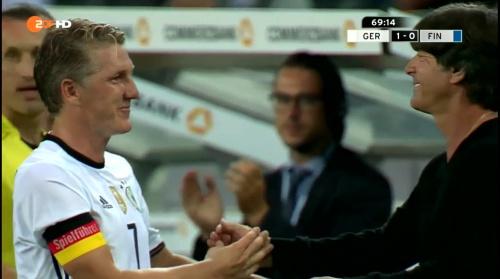 Joachim Löw & Bastian Schweinsteiger – Deutschland v Finnland second half 3