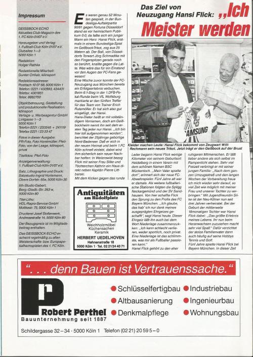 hansi-flick-cologne-v-bremen-1990-programme-2